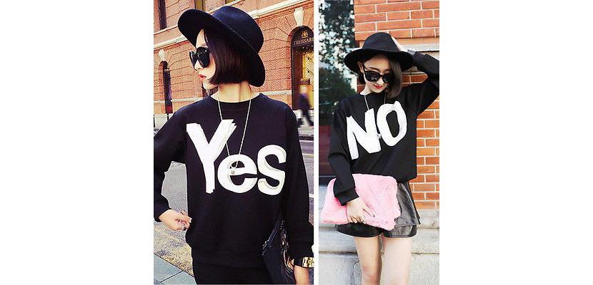 Фото черных толстовок для девушек «Yes» и «No»