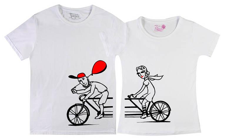 Фото парных футболок для пары с совместным хобби