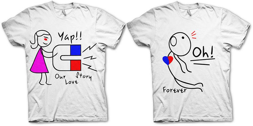 Фото с парными футболками для влюбленных с их Lovestory