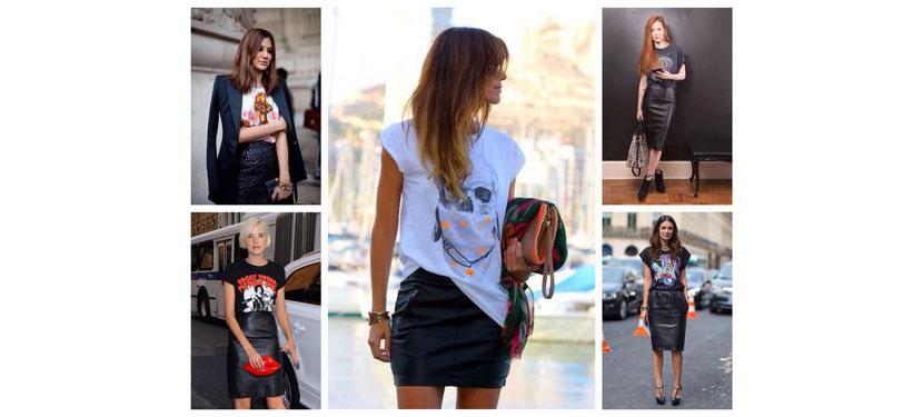 Фото модных футболок в комбинации с юбкой