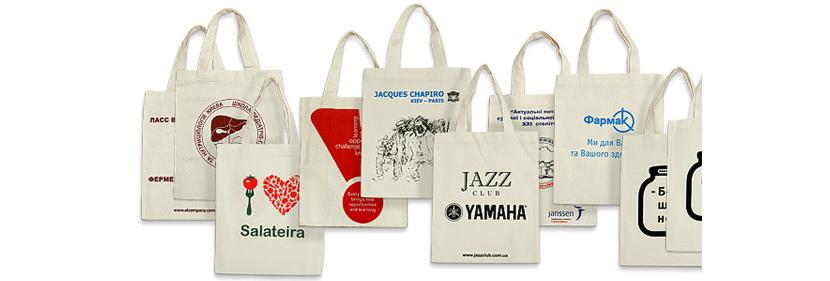 Фото с примерами промо-сумок с разными логотипами компаний