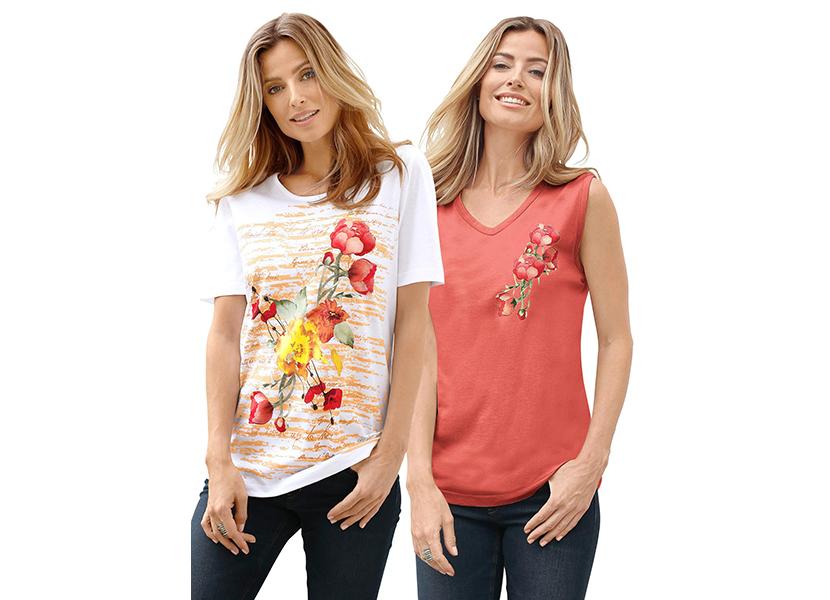 Изображение девушек в футболках с цветами