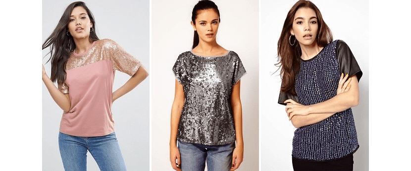 Фото девушек в стильных футболках с пайетками