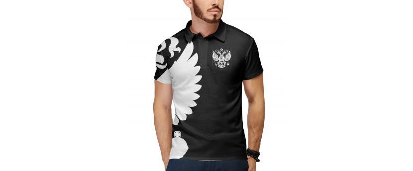 Изображение мужской черной футболки поло с графическим рисунком