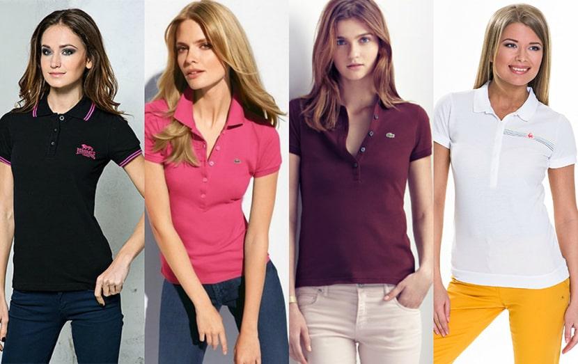 Картинка с разноцветными яркими женскими футболками поло