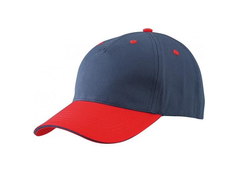 Фото пятипанельной синей кепки с красным козырьком
