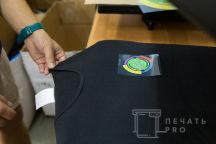 Черные стрейчевые футболки с логотипом «Еда в стакане»