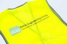 Желтые сигнальные жилеты с логотипом «BALTIC ENGINEERING GROUP»