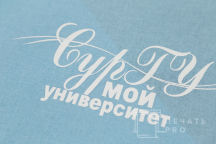 Голубой крой с надписью «СурГУ мой университет»
