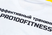 Белые футболки с логотипом «PRO100 FITNESS»