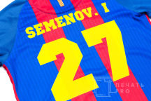 Синяя футболка с текстом «SEMENOV»