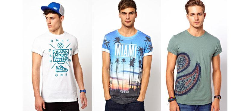 Фото разноцветных модных мужских футболок