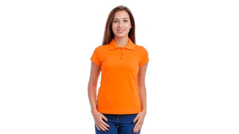 Изображение модной футболки поло оранжевого цвета