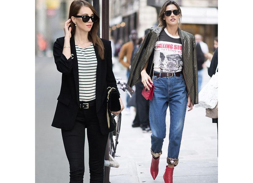 Фото со стильными образами с футболкой, заправленной в джинсы
