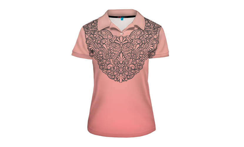 Фото женской футболки поло с принтом, имитирующим кружево