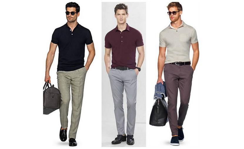 Картинка с мужчинами в стильных футболках поло разных типов