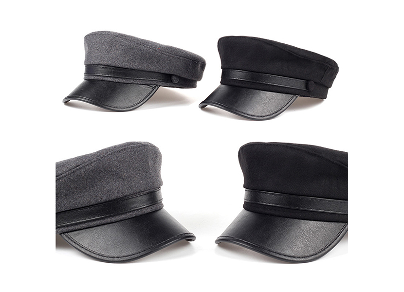 Фото кепок фуражек черного и темно-серого цвета с кожаным козырьком